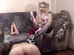 Pretty blonde mistress pegging