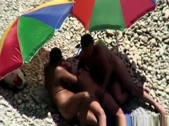 Threesome in nudist beach