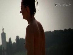 Small boobs teen topless at beach
