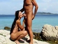 Skinny Horny Wife with Long Hair Sucking Cock at the Beach