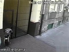 Elder lady taking a leak on the street