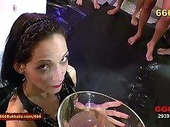 pissed brunette like's hard cock in her sloppy pussy. For sure bukkake and pee drinking is her best 666Bukkake