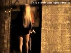 Leggy slut spied sucking dick in an alley