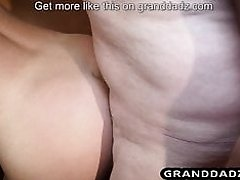 Old Housekeeper guy fucks the blonde and enjoy feet licking