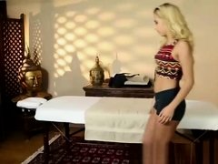 Horny blonde massage babe gets a release