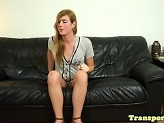Cockpierced trans toys ass while jerking solo