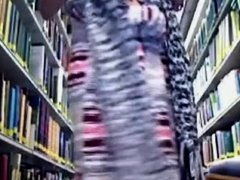 Naughty Blonde Girl Exposes Naked in a Library