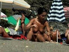 Chubby nudist milf spied by a voyeur