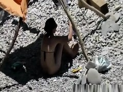 Wife fucked in rocky beach
