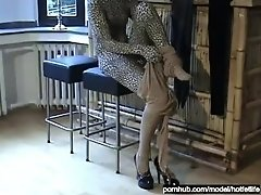 Young Teen Babe Encased In Tiger And Skin-Colored Zentai And Multilayer Fun