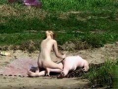 Skinny nudist girl penetrated by chubby boyfriend