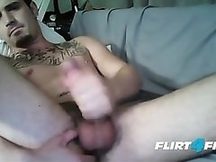 Tatted Pierced Nipple Superstud Jerks and Tastes His Cum