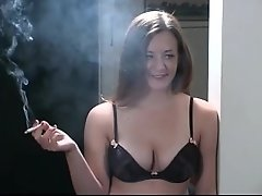 Alyssa smokes in lingerie