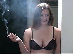 Alyssa smokes in lingerie