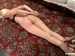 pretty Natash tied up,spanking,blowjob and her red toes electric shocked