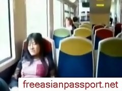 Asian Girl Fingers Pussy On Train