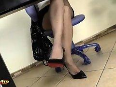 Redhead Secretary Irina Vega in Pantyhose masturbates with a Magic Wand
