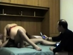Wife, her lover and husband filmed when trying sex
