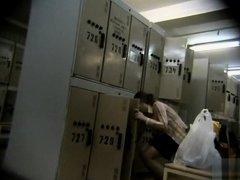 Filming her petite body in the locker room