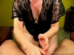 Sexy mother i'd like to fuck gives her hubby cumplay tugjob