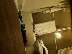 Room mate spying under the door