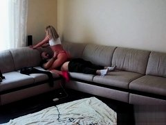 Clint inserts Sone without taking off her panties and fucks Voyeur Cam1