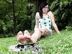 Emo Girl Showing her Stinky Soles