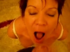 Hot Redhead Aged on Her Knees Oral-Stimulation and Spunk on Face