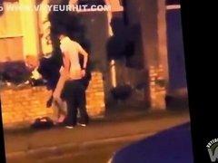 Noisy street sex of the horny French couple