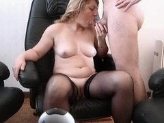 Mature whore in stockings gets nailed in voyeur sex video