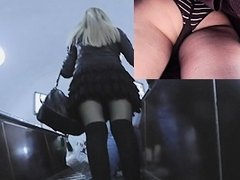 Hotty on escalator nylons upskirt