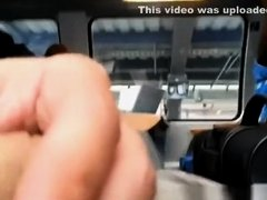 Guy plays with his dick in train