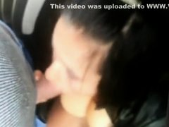 Dogging Hungarian prostitute sucks dicks in her car