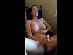 Wife masturbating in front of the webcam