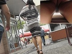 Striped suit up petticoat lascivious view on webcam
