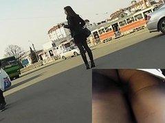 Hotty wears black hose on legs up petticoat
