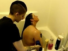CFNF Dressed Lesbian Washes Nude Milf & Happy Ending
