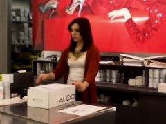 Store attendant's big boobs