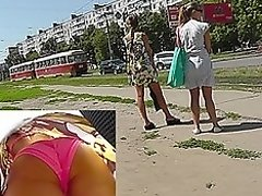 Flawless ass upskirt of the slender girlfriend