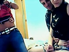 Hot legal age teenager party in front of livecam