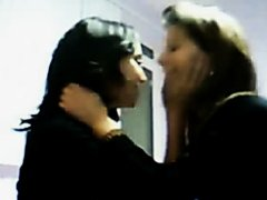 Teen sluts making out on a webcam
