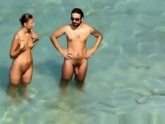 Nudist woman blows cock in beach