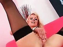 Blonde Milf In Black Nylons Dildo Fucks Her Pussy