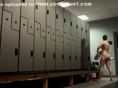 Plump babe on a locker hidden camera