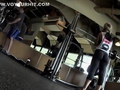 Weight lifting woman has a fantastic ass