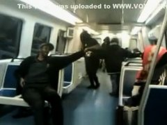 Drunk lady pees in subway car