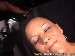 Bald Mistress Laura Gently strokes a Oily cock with paint brush Cum Recap