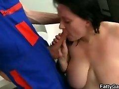 Fat bitch seduces a serviceman to fucking