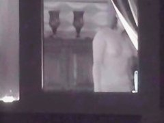 Window voyeur of topless neighbour just in a thong