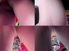 Flabby ass slim babe wears g-string in upskirt video
